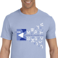 T-Shirt: Beautiful Voice with Figures (Blue)
