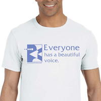 T-Shirt: Beautiful Voice with Logo (White)