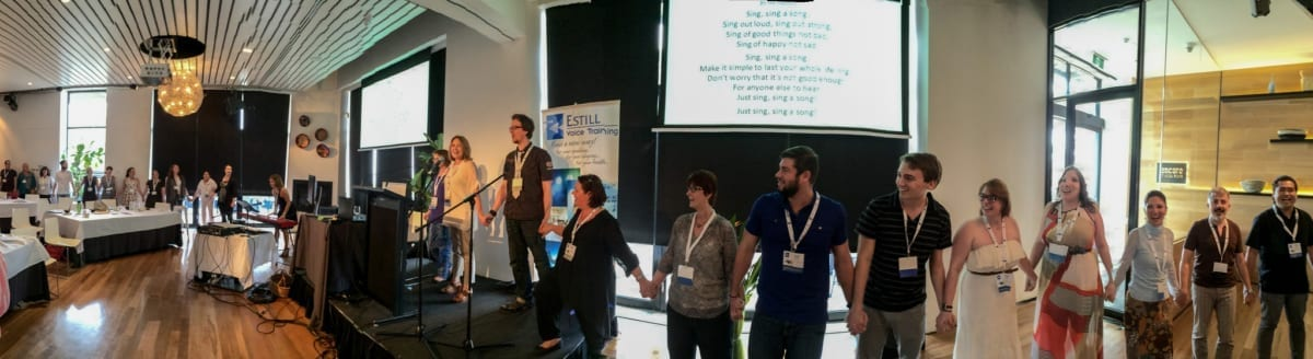 Estillians united in hand and voice at the 2015 Estill World Voice Symposium in Melbourne, Australia